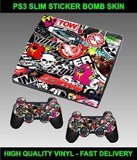 Playstation 3 Slimline Console Sticker Skin Stickerbomb graphics & 2 X Pad Skins