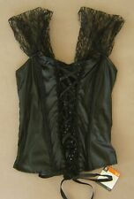 Sexy Black Corset Top Bustier Lingerie Women Halloween Costume Lace Up Sz S / M