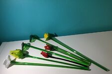 EUC Bouquet of Beautiful Hand Blown Glass- Long Stemmed Flowers & Leaves 7 Pcs
