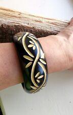 Floral Design Wooden Bangle, Black, Beige Colour, Wooden Jewellery, Boho Chic