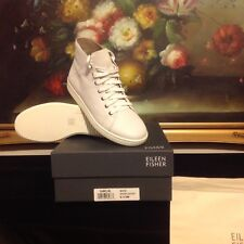 EILEEN FISHER Women's Washed Leather Game 2 high-top Sneaker WHITE SIZE 6.5
