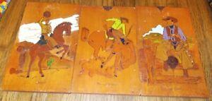 Vintage western decor horse cowboy wall plaque hanger wood burning folk art 60s