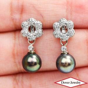 Estate 0.13ct Diamond Pearl 18K Gold Drop Earrings NR