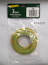 5M PACK OF EARTH SLEEVING 3MM GREEN/YELLOW BY TOWER
