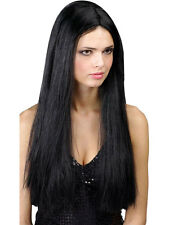 "Ladies Long Straight 24"" Black Wig Fancy Dress Halloween Hippy Hippie 60s 70s"