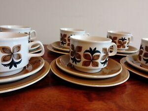 Vintage 1970s Tea Set Staffordshire Set of 6 Cup/Saucer/Plate Retro Geometric