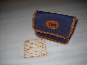 Vintage TWA Trans World Airlines Travel Amenity Toiletry Bag Case Blue #1
