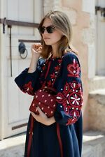 Long Floral Embroidered Tassel Kaftan Midi Dress Tunic Blue Red Size UK 6 -12 S