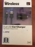 Just Wireless 1 Amp  Dual USB Car Charger HTC Phone
