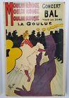 Vtg Moulin Rouge Concert Bal Tous Les Soirs La Goulue Cardboard Print Art Poster