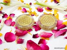Crystal QUartz Flower Of Life Healing Chakra EMF Protection Orgone Disc Set Of 2