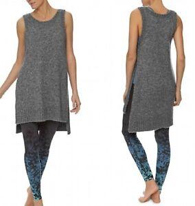 Sweaty Betty Lila Knitted Sleeveless Tunic Dress Grey size M 60% Wool 2492-B7