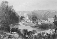 CANADA Nova Scotia Village Kentville - Steel Engraving Print