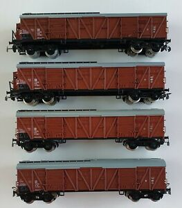 Piko H0 4x vierachsige geschlossene Güterwagen DR braun bespielt o.OVP