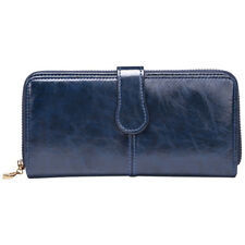 Fashion Lady Long Handbag Women Zip Wallet Wax Leather Clutch Card Holder Purse