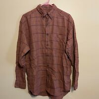 Eddie Bauer Mens Red Plaid Flannel Long Sleeve Button Shirt Size Medium Plaid