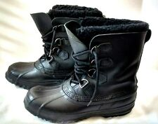 Sorel Black Hand Crafted Rubber Boots Women's 8 Made in Canada Felt Lined