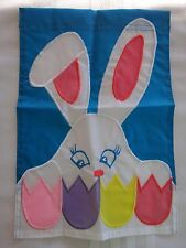 BUNNY RABBIT HEAD, EARS, EGGS Applique GARDEN Flag 9.5 x 14 NEW