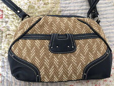 Stone mountain bags handbags straw look With Navy Trim