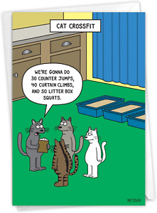 NobleWorks - 1 Funny Animal Card for Birthdays - Pet Cat and Dog Humor, Birthday