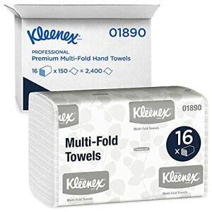 Kleenex Multifold Paper Towels (01890), White, 16 Packs / Case, 150 Tri Fold