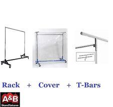 Z Racks Cover Clear Plastic & Black Rack Single Bar Clothing Garment Clothes