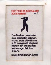 Australian Matchbox Label. Bicentenial. Sir Don Bradman. Cricket