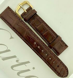 Cartier Buckle Must on genuine Alligator Italy watch long strap 18 x 15mm great.