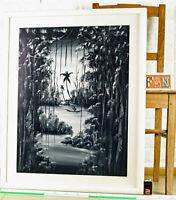 Mamadou Diakhate 1938 Gemälde Fingermalerei Senegal Dschungel Grisaille 79x64cm