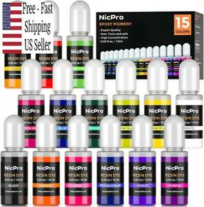 15 Colors Epoxy Resin Pigment, Liquid Epoxy Dye Translucent Resin Tint Colorant