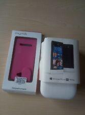 HTC Windows Phone 8S UK Sim Free Smartphone - White/Black + pink PU cover