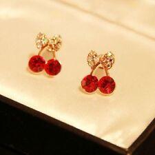 Rhinestone Cute Charm Crystal Leaf Stud Earring Gold Plated Cherry Bow Knot