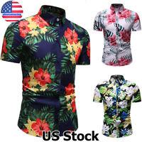 Men's Short Sleeve Blouse Hawaiian Party Shirts Summer Beach Casual T Shirt Tops