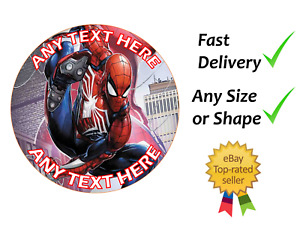 Spiderman cake cupcake topper edible icing or Wafer personalised