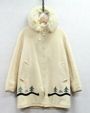 Vintage Hudson's Bay Wool Parka Jacket Womens Size 10 Beige Fur Hood