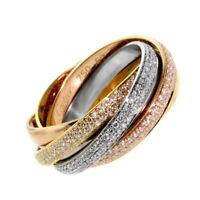 Cartier Trinity 6 Band Diamond Gold Ring (0000144)