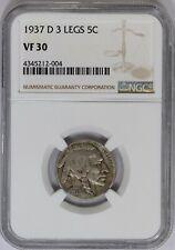 1937-D 3 Legs NGC 5C Indian Head Buffalo Nickel Very Fine VF30