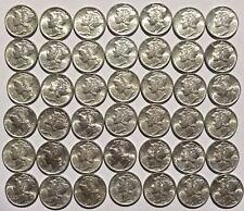 Roll of 42 Mercury Dimes 10c 1942 Unc