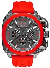 Diesel DZ7368 Bamf Gunmetal Ion Red Silicone Band Chronograph 56mm $295
