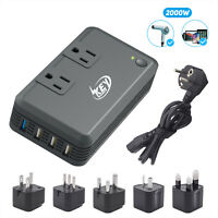 2000W Watts 220V to 110V Step Down Voltage Power Converter with Travel adapters