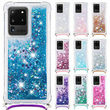 For Samsung Galaxy Note 20 Ultra S20 S10 S9 Bling Quicksand Strap TPU Case Cover