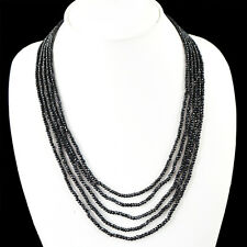 TOP GRADE 215.00 CT NATURAL 5 LINE RICH BLACK SPINEL ROUND CUT BEADS NECKLACE