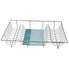 LARGE CHROME PLATED STAINLESS STEEL WIRED DISH DRAINER HOLDER RACK FREE P & P