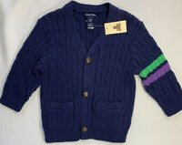 NWT Baby Gap Boys 12-18 Months Navy Blue Varsity Cable Cardigan Sweater