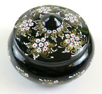 Hand-Painted Floral Design, Round Small Wood Vintage Trinket Box