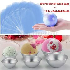 12Pcs DIY Metal Bath Bomb Soap Cake Pastry Molds+200Pcs Heat Shrink Wrap Bags