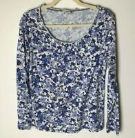 LOFT Women's Top Size Medium Cotton Blend Long Sleeves Casual Purple Blue White