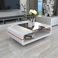 High Gloss White Stylish Coffee Table Storage with Black Glass Top Living Room