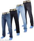 New Mens Gaffer Basic Cotton Regular Fit Straight Leg Denim Jeans+ Free Belt