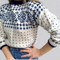 Vintage Handknit Wool Fair Isle Knit Sweater S/M